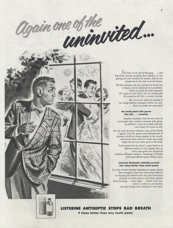 Listerine Mouthwash Funny Vintage Ad 1955 Advertisement