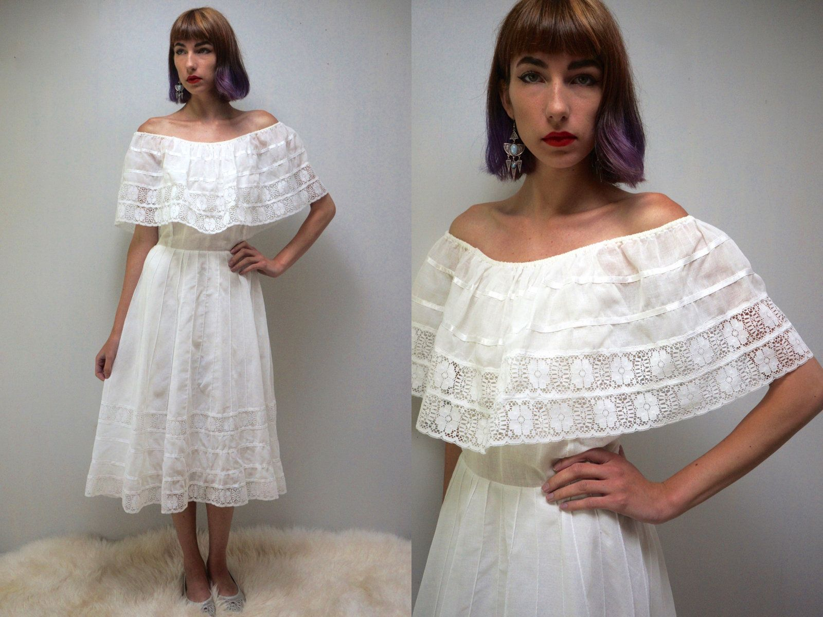 Mexican wedding dress white mexican dress white cotton dress s