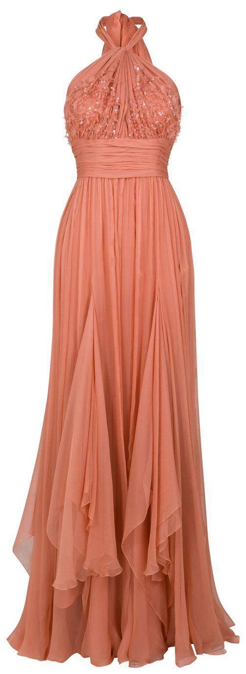 ELIE SAAB Chiffon Beaded Halter Gown