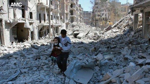 Zwei Fassbomben Luftangriff auf Aleppo zerstört Krankenhaus - FAZ - Frankfurter Allgemeine Zeitung