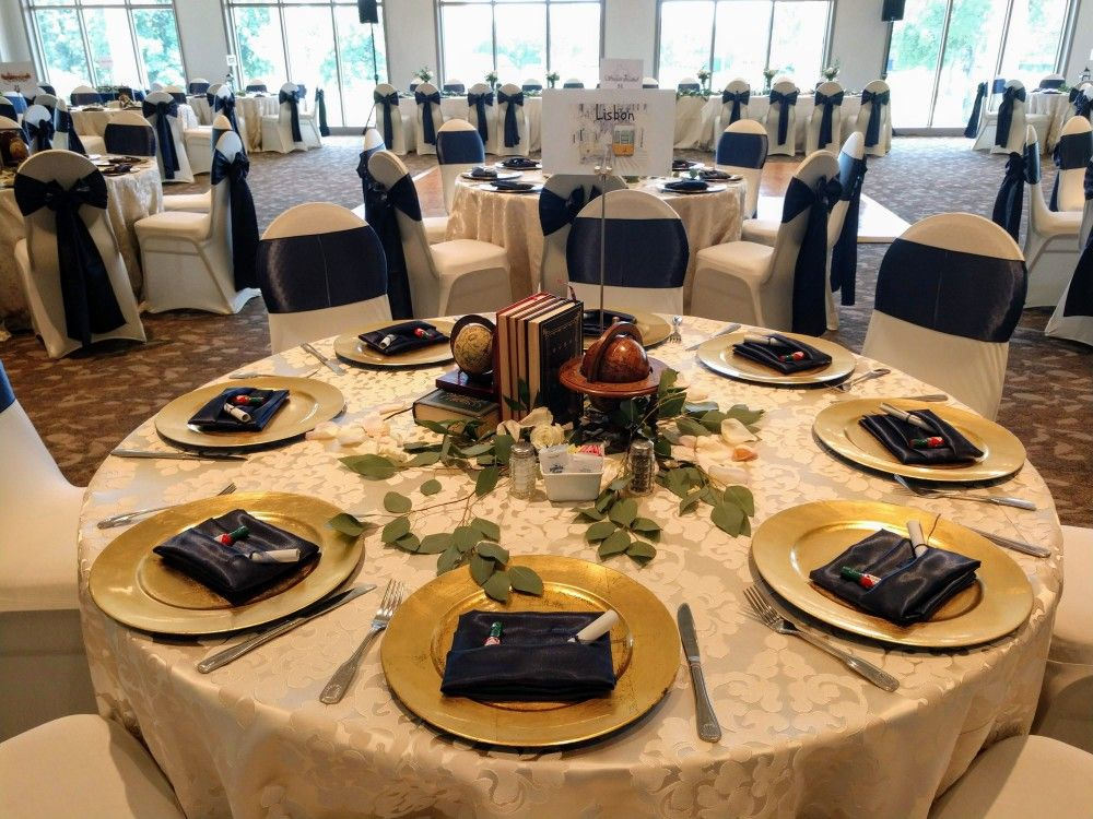 Elegant Ivory Linen Tablecloths And Navy Blue Napkins By Eb Inc
