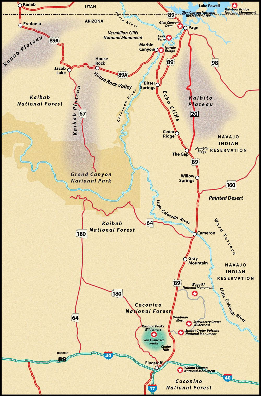 US Route 89 Flagstaff to Page Road Trip Guide Map | route 89 ...