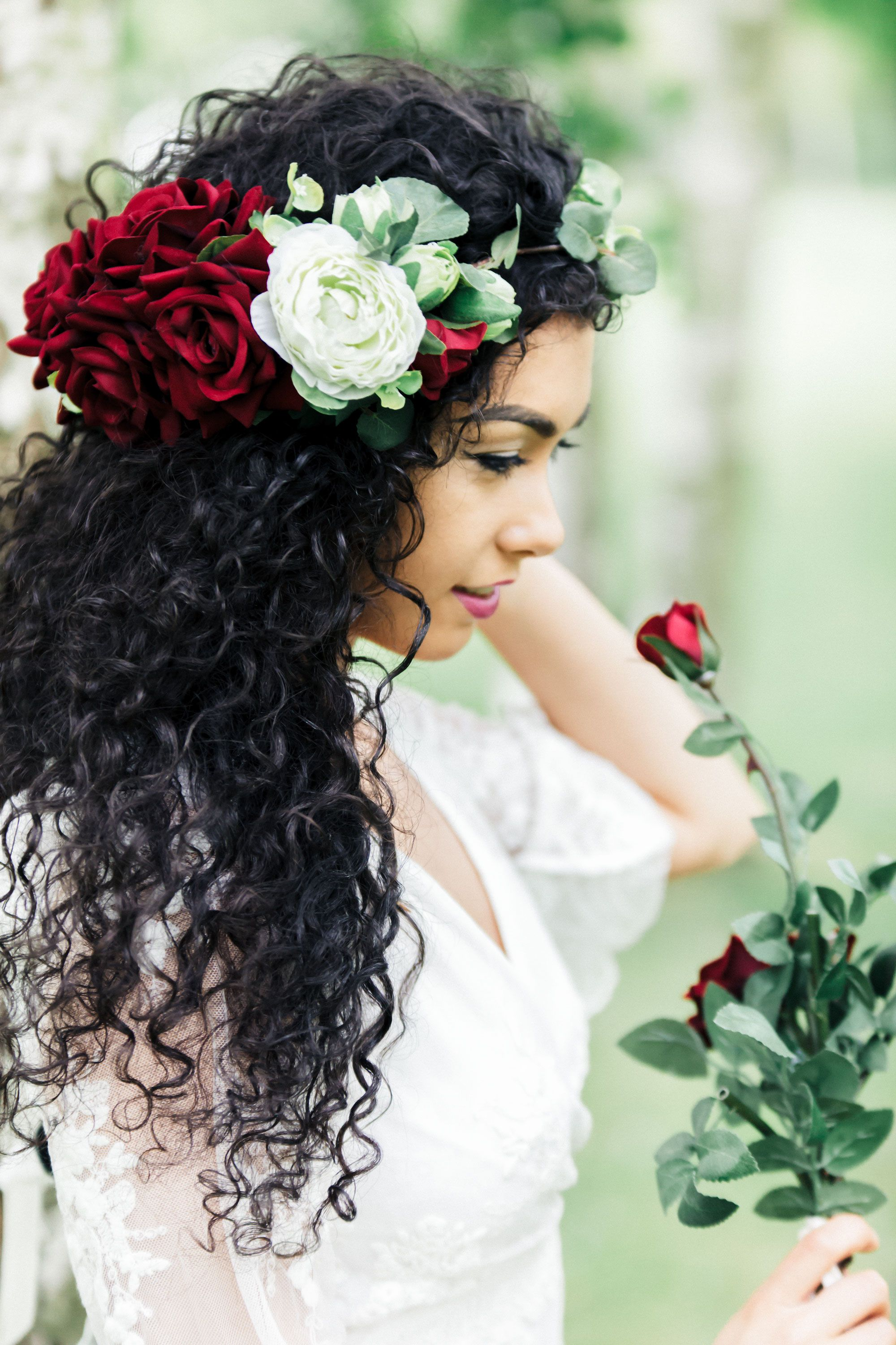Beautiful red and ivory rose flower crown wrapped with vine leaves beautiful red and ivory rose flower crown wrapped with vine leaves by aurelia crown perfect for your boho inspired wedding photo aurelia allen photography izmirmasajfo