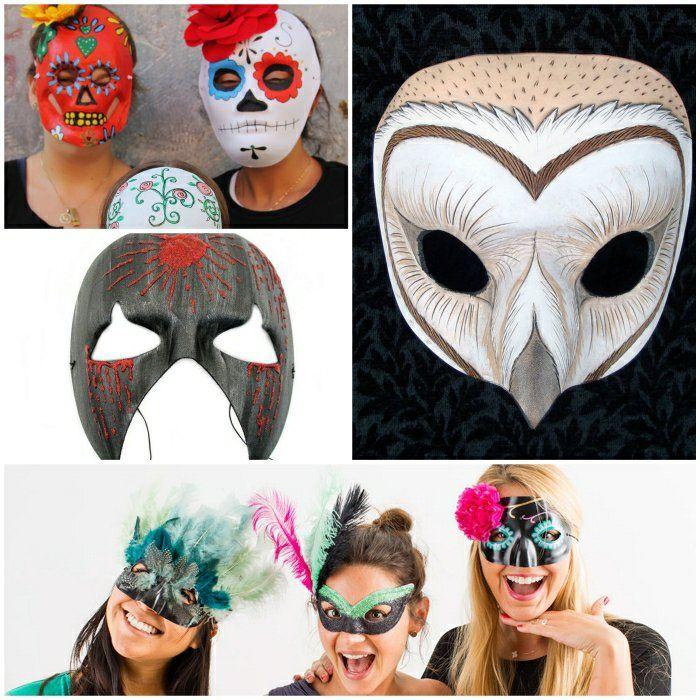 Gruselige Masken als Bastelidee zu Halloween Halloween