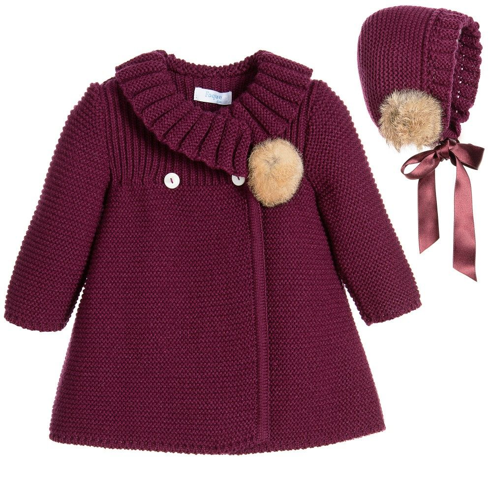 8b3f3daf6 Foque - Baby Girls Burgundy Knitted Coat   Bonnet