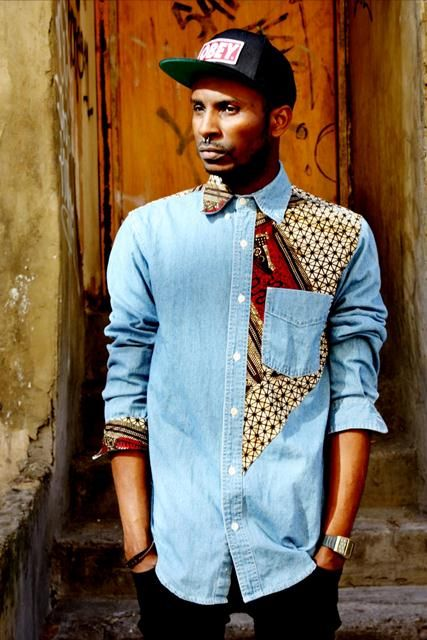 Denim detailed with African print                                                                                                                                                                                 More