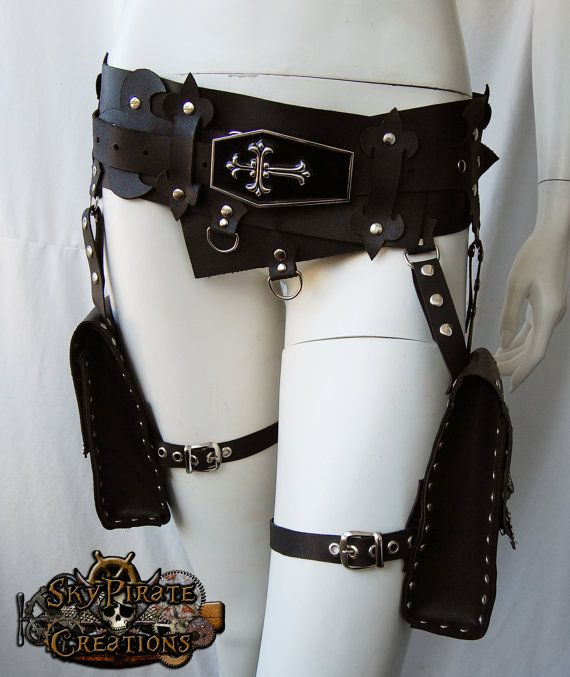 Vampire Multifunction Pocket Utility Leather Belt by SkyPirateCreations 190.00 EURThis Listing is for a made to order leather belt, so please leave me a no