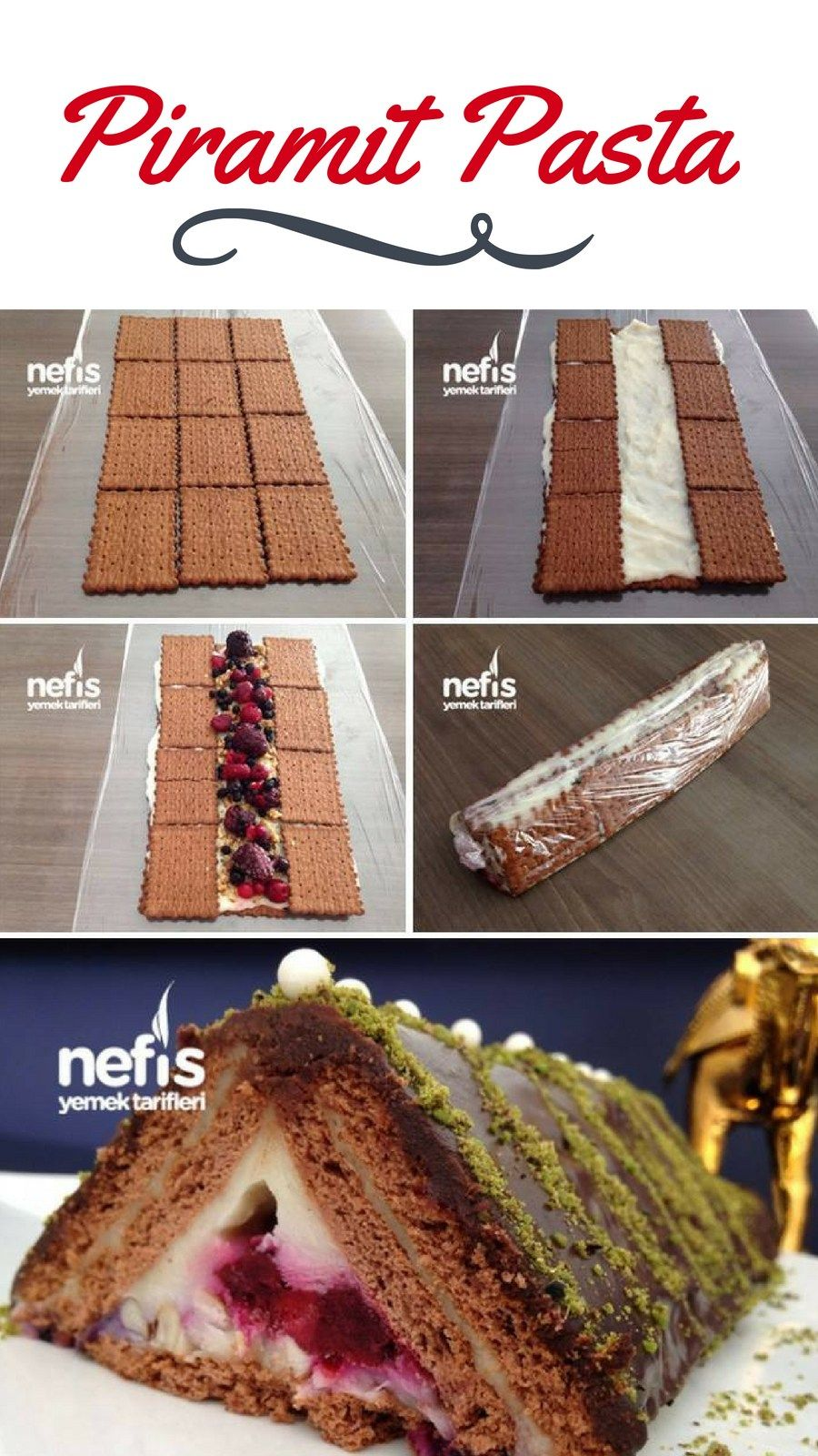 Bisküvili Meyveli Piramit Pasta – Nefis Yemek Tarifleri