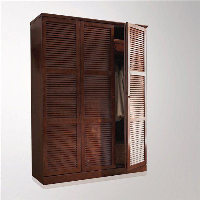 Armoire pin massif, H205 cm, penderie lingère, Mayor La Redoute - peindre une armoire en bois