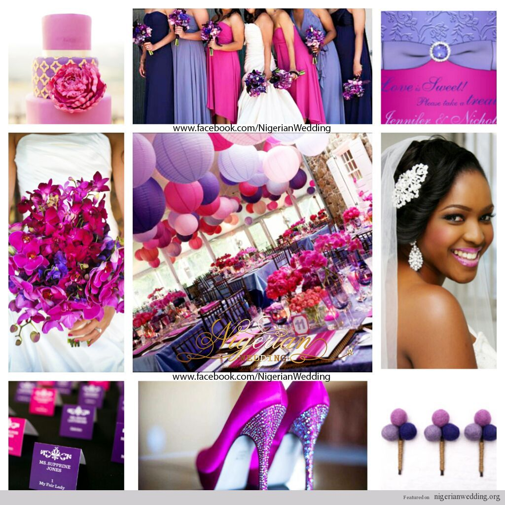 Nigerian Wedding Fuchsia Pink, Purple And Lavender Wedding