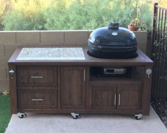 Primo Grill Cabinet   Outdoor Kitchen   Rolling Grill Cart   Grill Table    Grill Island   Grill Station   Kamado Grill   Ceramic Grill By  RusticWoodWorx On ...