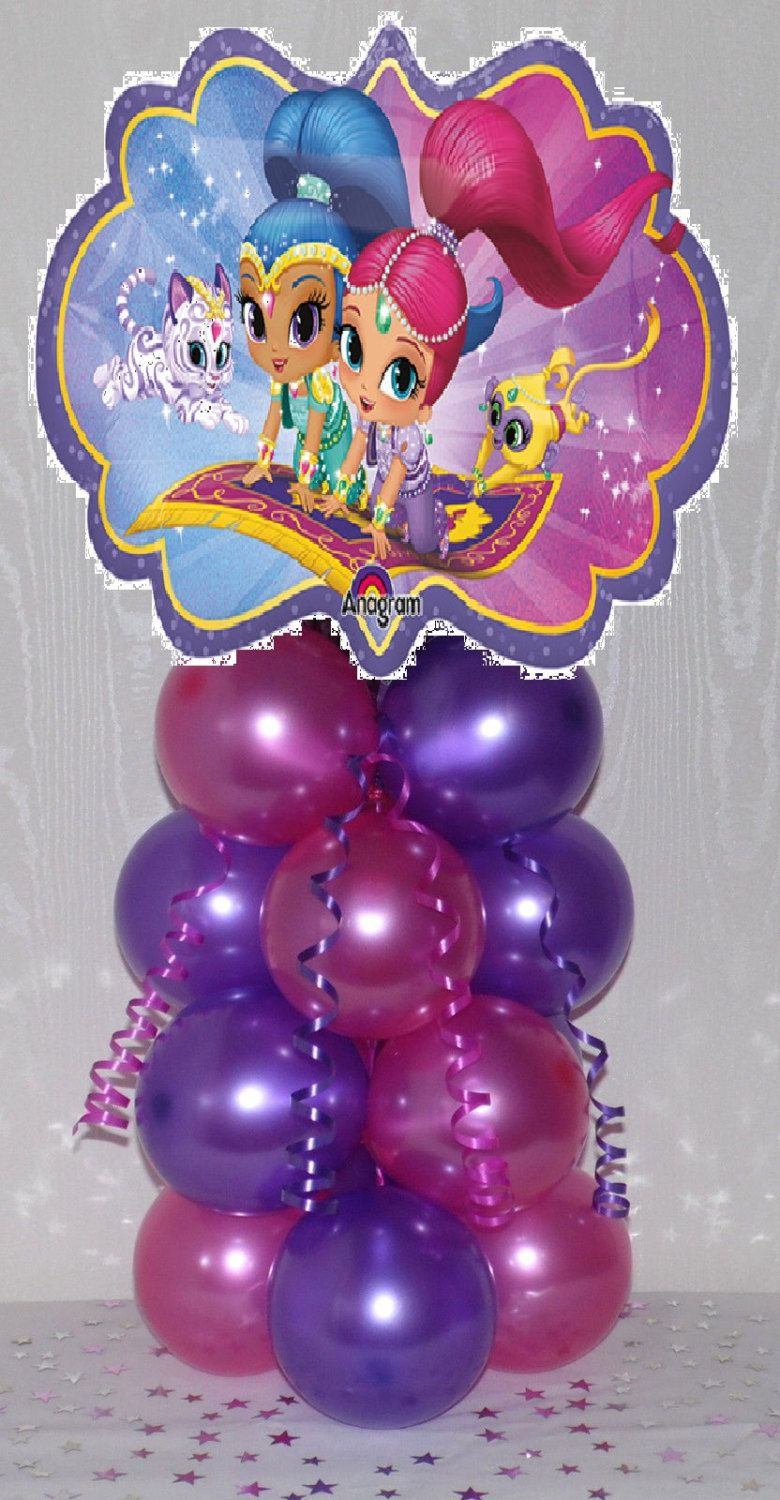 2 Shimmer and Shine Birthday Balloon Table Decoration Centerpiece