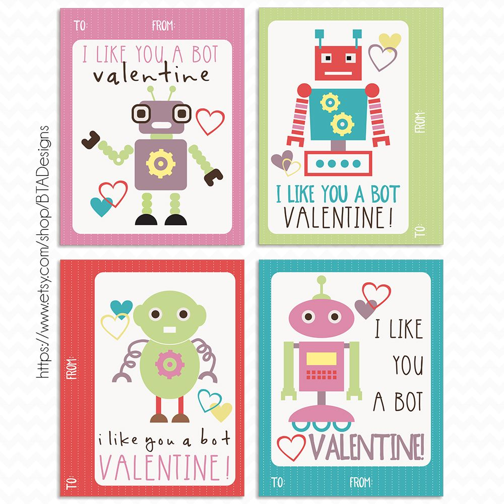 Printable Robot Valentine Cards Instant Download By Bta Designs