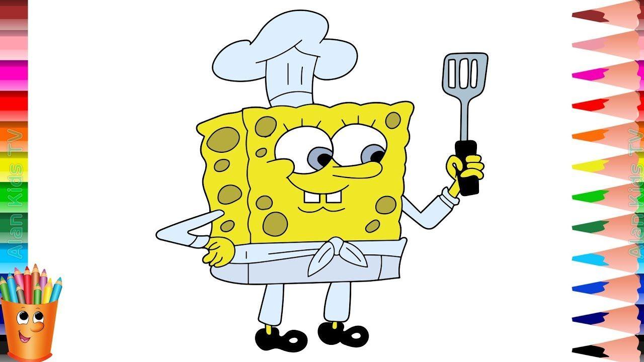 Belajar Menggambar Dan Mewarnai Spongebob Koki Learn Drawing And
