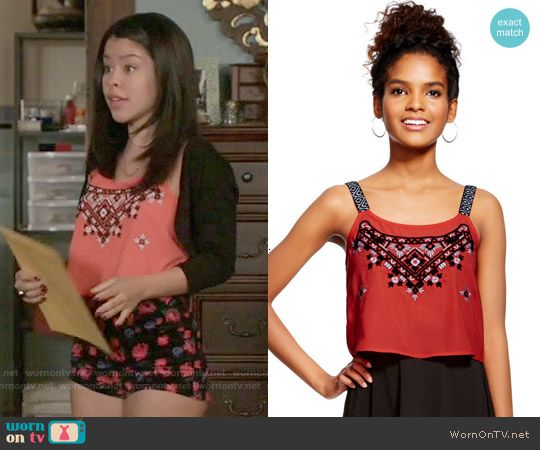23cf9b2ef94120 Mariana s embroidered crop top on The Fosters. Outfit Details   https   wornontv