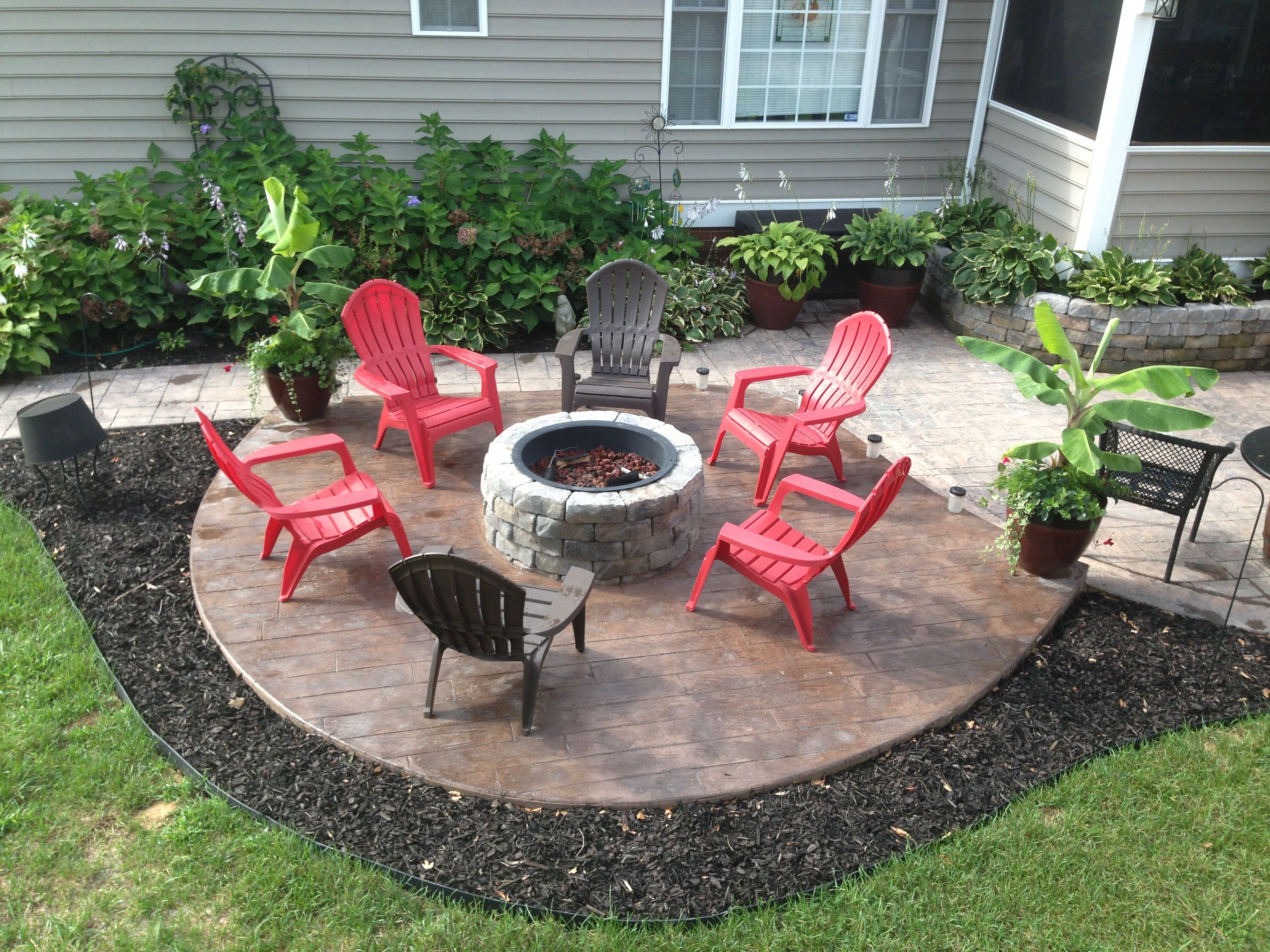 New Stamped Concrete Patio With Built In Fire Pit What A