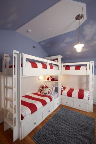 L Shaped Quadruple Bunk Beds For Kids Bedrooms Shared By Three Of