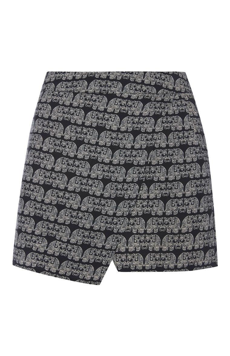 Schwarz-weißer Hosenrock mit Elefantendruck
