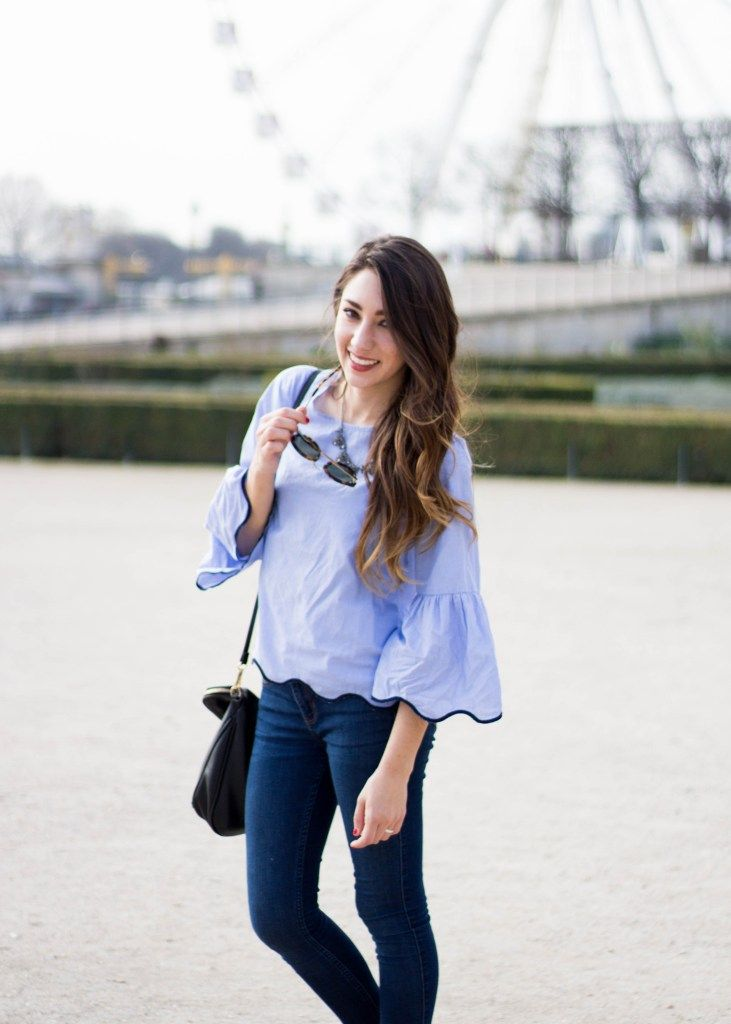 ceda25aa044 zara blue white stripe scallop top with bell sleeves hollister skinny jeans  black tassle purse moos musing spring outfit inspiration paris