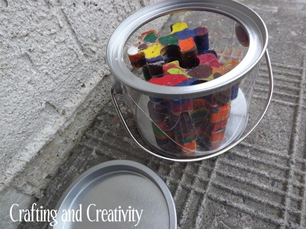 Crafting and Creativity: puzzle piece-shaped crayons