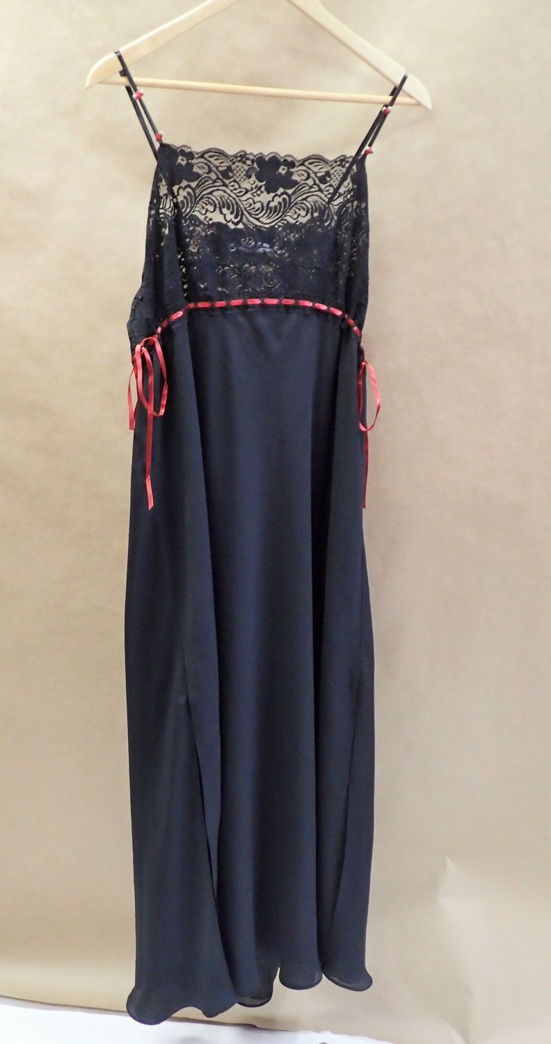 Womens Vintage Black Long Maxi Shift Nightgown Lingerie Sleepwear sexy...  sensual cacique - Double lined - Lace Red Roses Red Ties Large xl by  DOINGITSOBER ... 18d653cc4