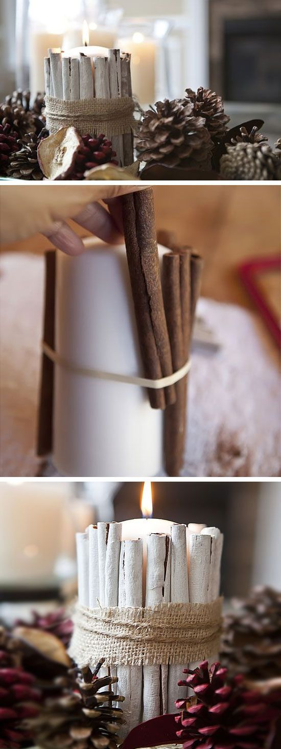 Cinnamon sticks for crafts - 16 Diy White Christmas Decorations For The Home