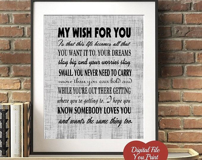 My Wish Rascal Flatts Lyric Print Your Own Digital Art My Wish For You Sign You Print And Frame Great Gift We Lyric Prints My Wish For You Rascal Flatts Lyrics