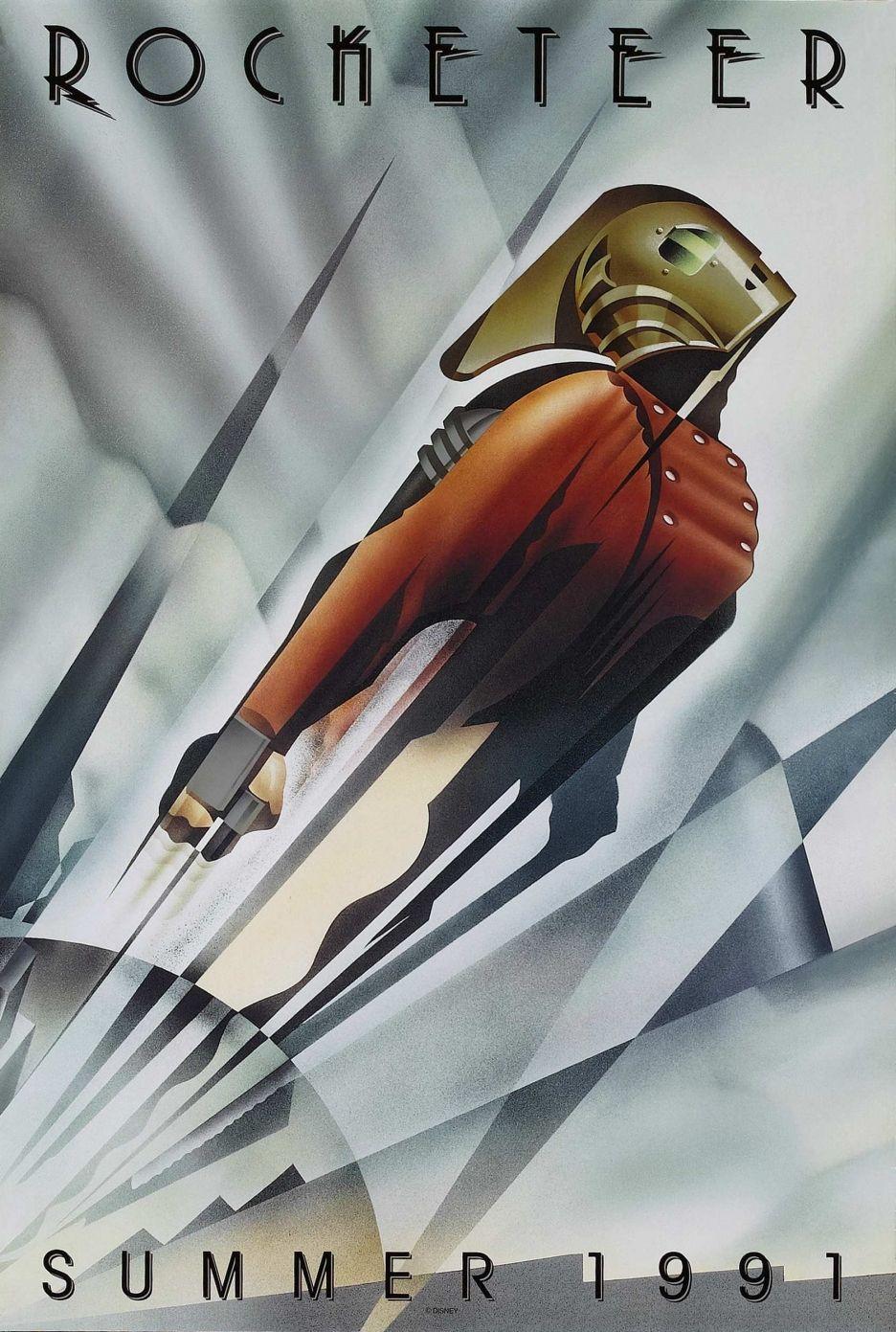 Rocketeer (1991), dirigido por Joe Johnston, teve um dos cartazes de filmes de super-heróis mais bonitos já criados. A imagem mostra o personagem principal voando em alta velocidade. O estilo Art Déco do pôster, criado pelo ilustrador John Mattos, com linhas retas e cenário formado pela intersecção de fachos de luz sobre as nuvens, é perfeito para evidenciar a sensação de aceleração e a ousadia do protagonista, que se lança determinado aos céus. (Omelete)