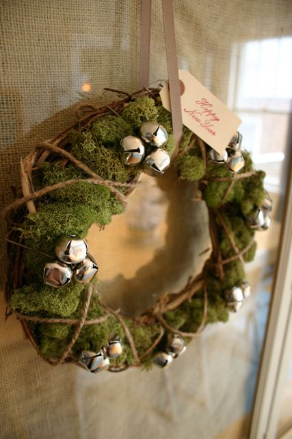 Moss and jingle bell wreath