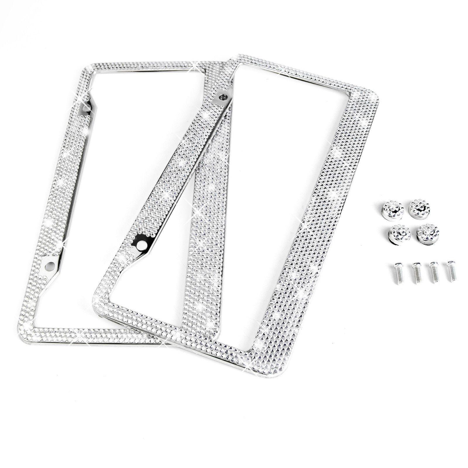 License Plate Frame 2 White Diamant Silver Bling Crystal Rhinestone