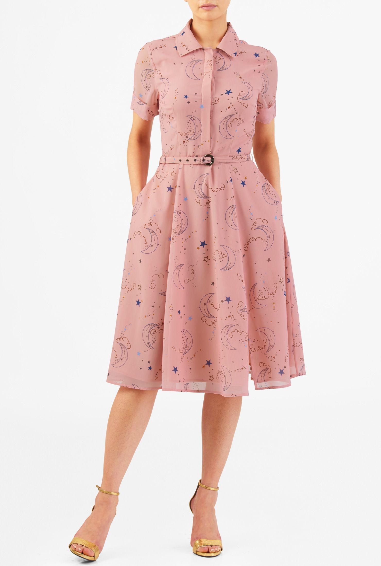 Sky print belted georgette shirtdress | Vestiditos, Modelo y ...