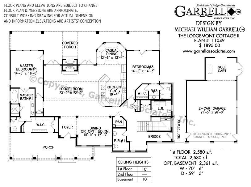 Lodgemont Cottage II House Plan 11049 in 2020 Garage
