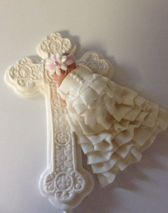 BAPTISM GOWN CAKE Topper Christening Angel Wings BaPtism ...