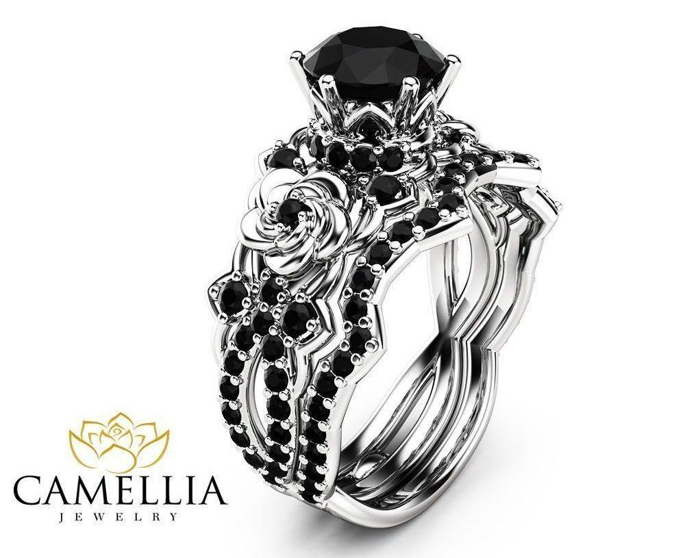 Gothic Engagement Rings I Want It Black Black Diamond Engagement Ring Set Black Diamond Ring Engagement White Gold Black Diamond Ring