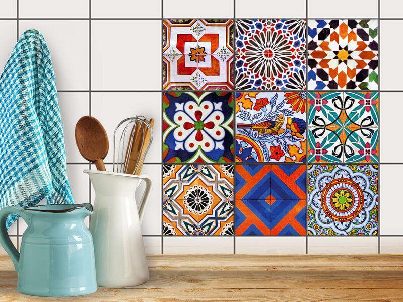 Fliesenaufkleber Set für Küche & Bad - Design: Portugiesisch ...