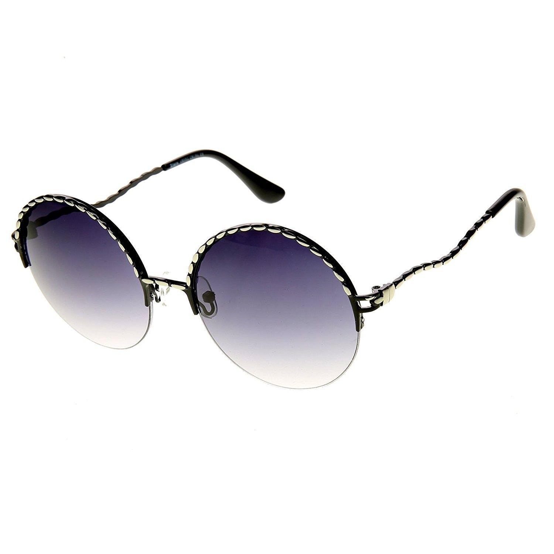 02ddecf0c60 Womens Oversized Semi Rimless Metal Round Sunglasses - Silver ...