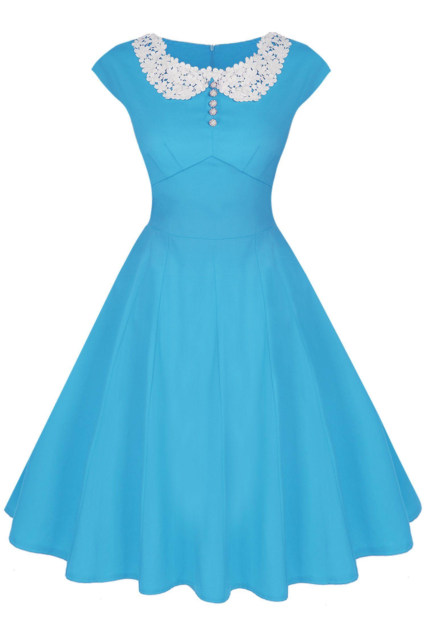 ACEVOG 40s 50s 60s Vintage Retro Swing Rockabilly Picnic Party Dress ...