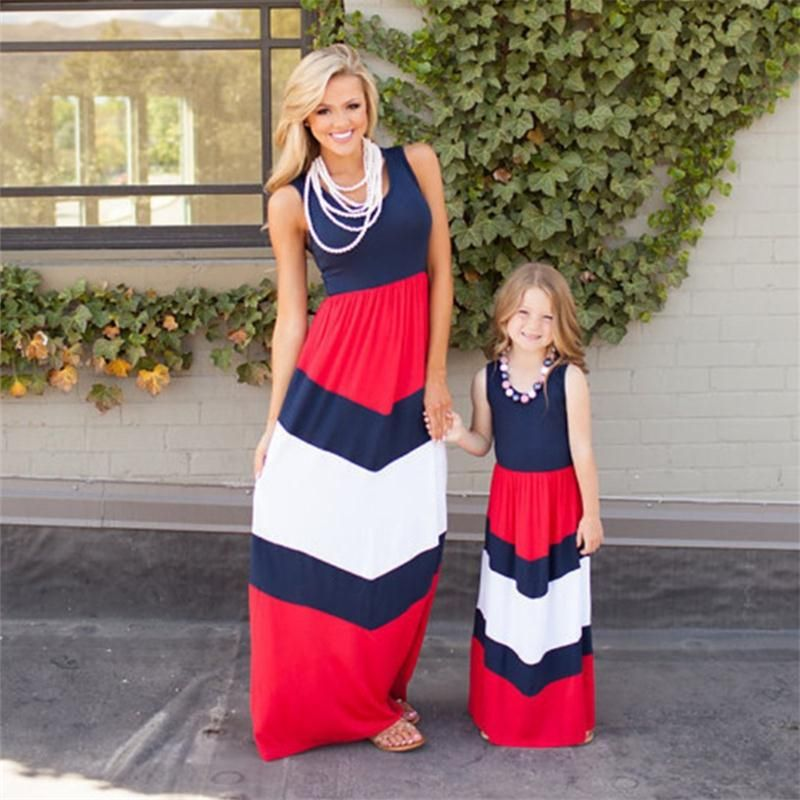 Mother and Daughter Matching Stripe Dress Women Kid Girls Casual Family Clothes