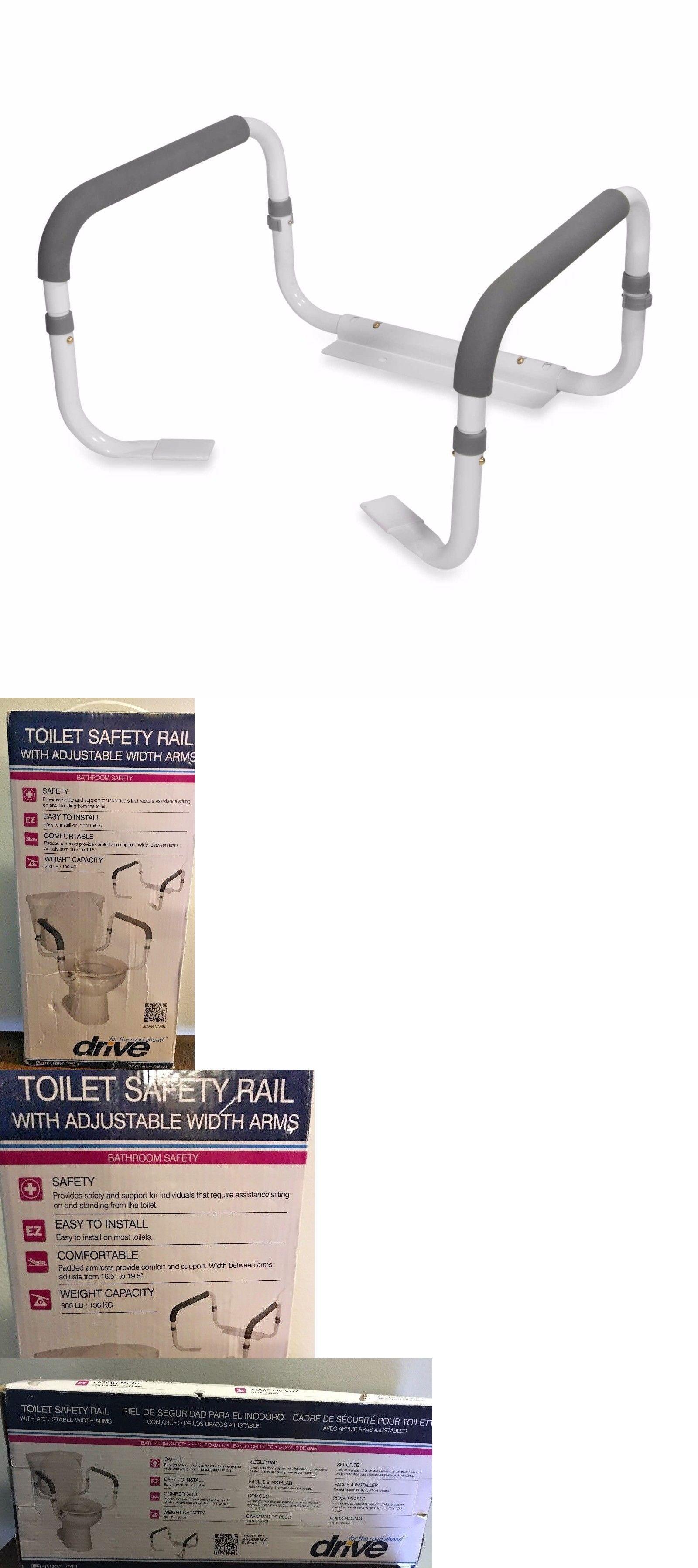 Adjustable bathroom toilet safety frame rail grab bars support