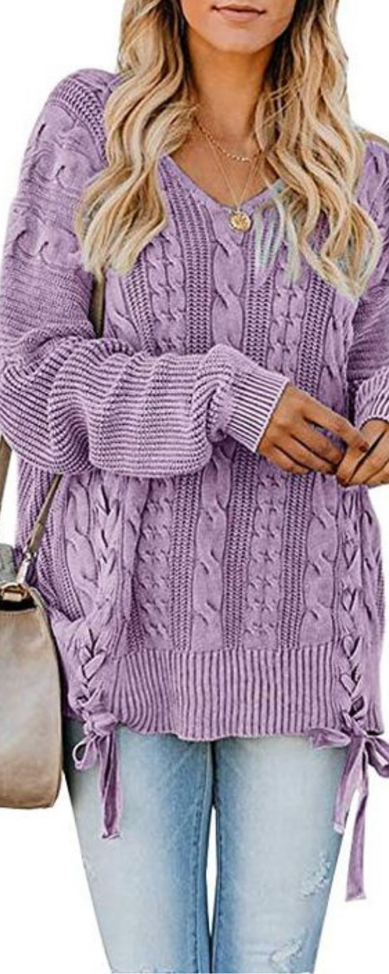 506d6ded289 Women s Pullover Sweaters Plus Size Cable Knit V Neck Lace Up Long Sleeve  Fall Jumper Tops
