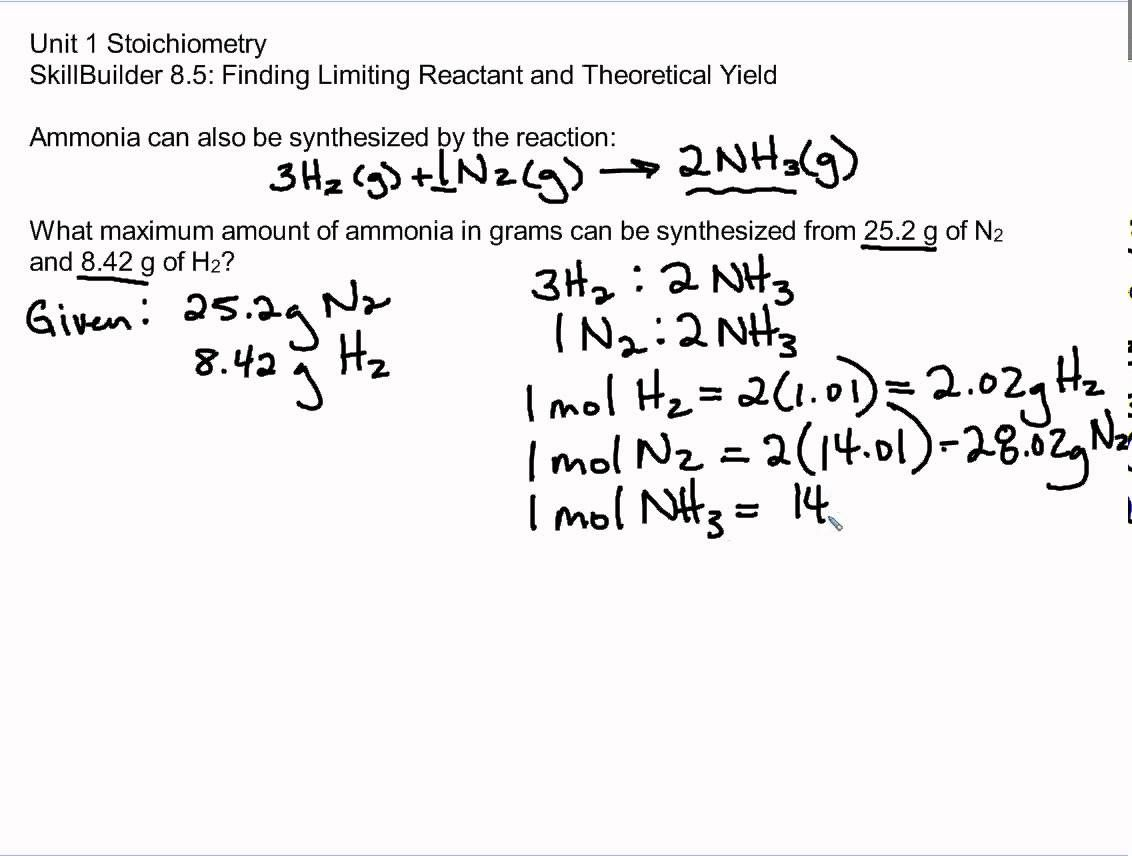 Skillbuilder 8 5 Unit 1 Stoichiometry With Images