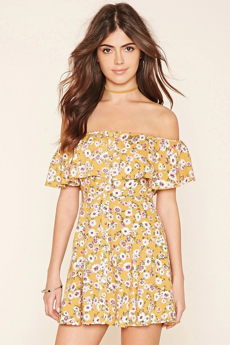 Off-the-Shoulder Mini Dress #thelatest