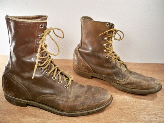 Vintage Red Wing Irish Setter Hunting / Sport Brown Leather Non-Steel Toe Men's Chore Workwear Lined Boots Made in USA Size 10