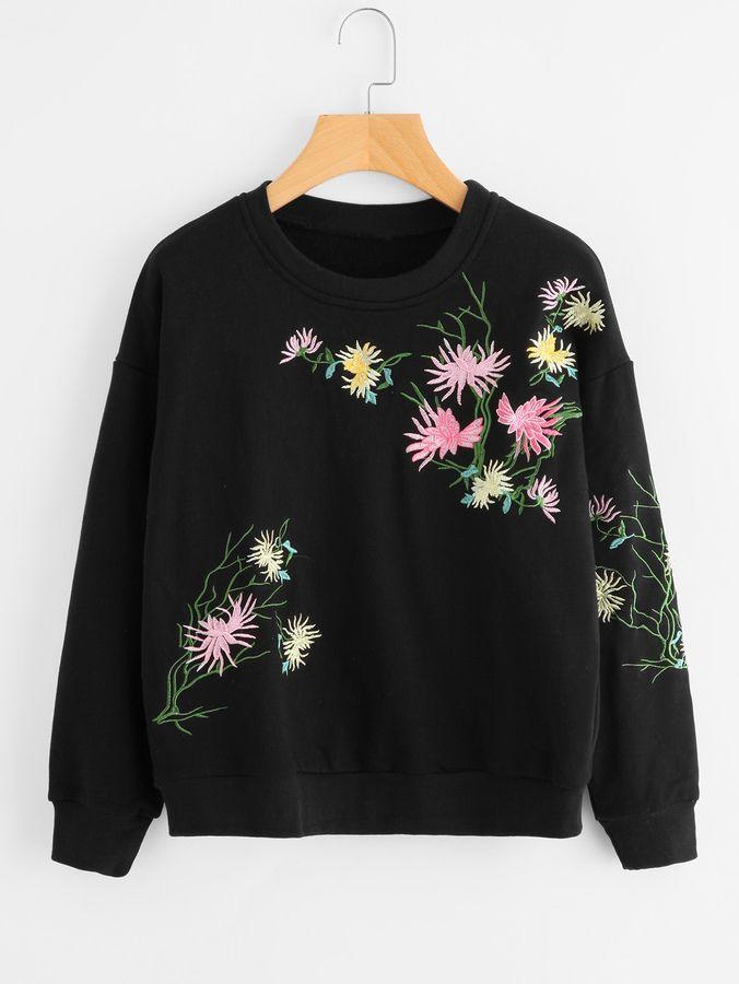 fb63fd3937261 Shein Drop Shoulder Flower Embroidered Sweatshirt | Clothes pls ...