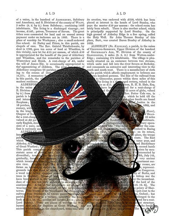 British Bulldog Print Art Print Digital Illustration Original Painting Dog  Art Dog Print Bowler Hat Union Jack wall art wall decor hanging 43cd21244d85