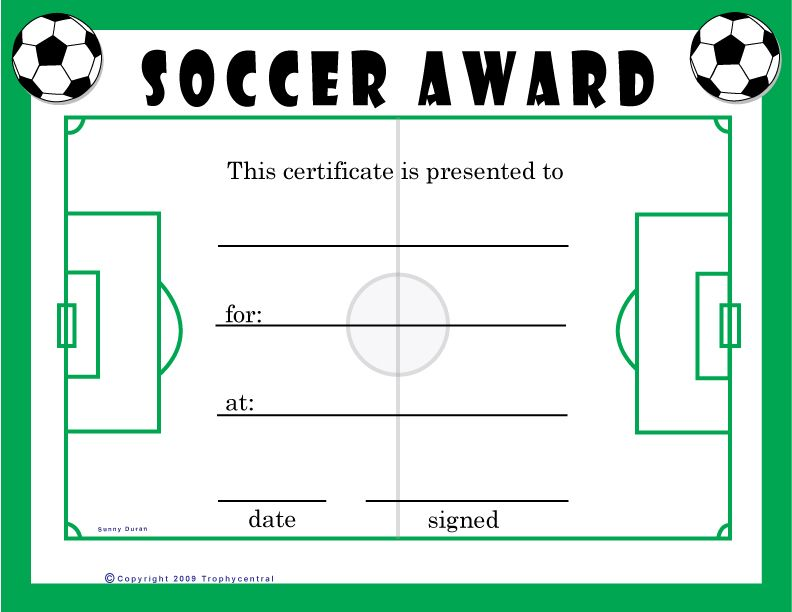 Free Soccer Certificates   For The Kids
