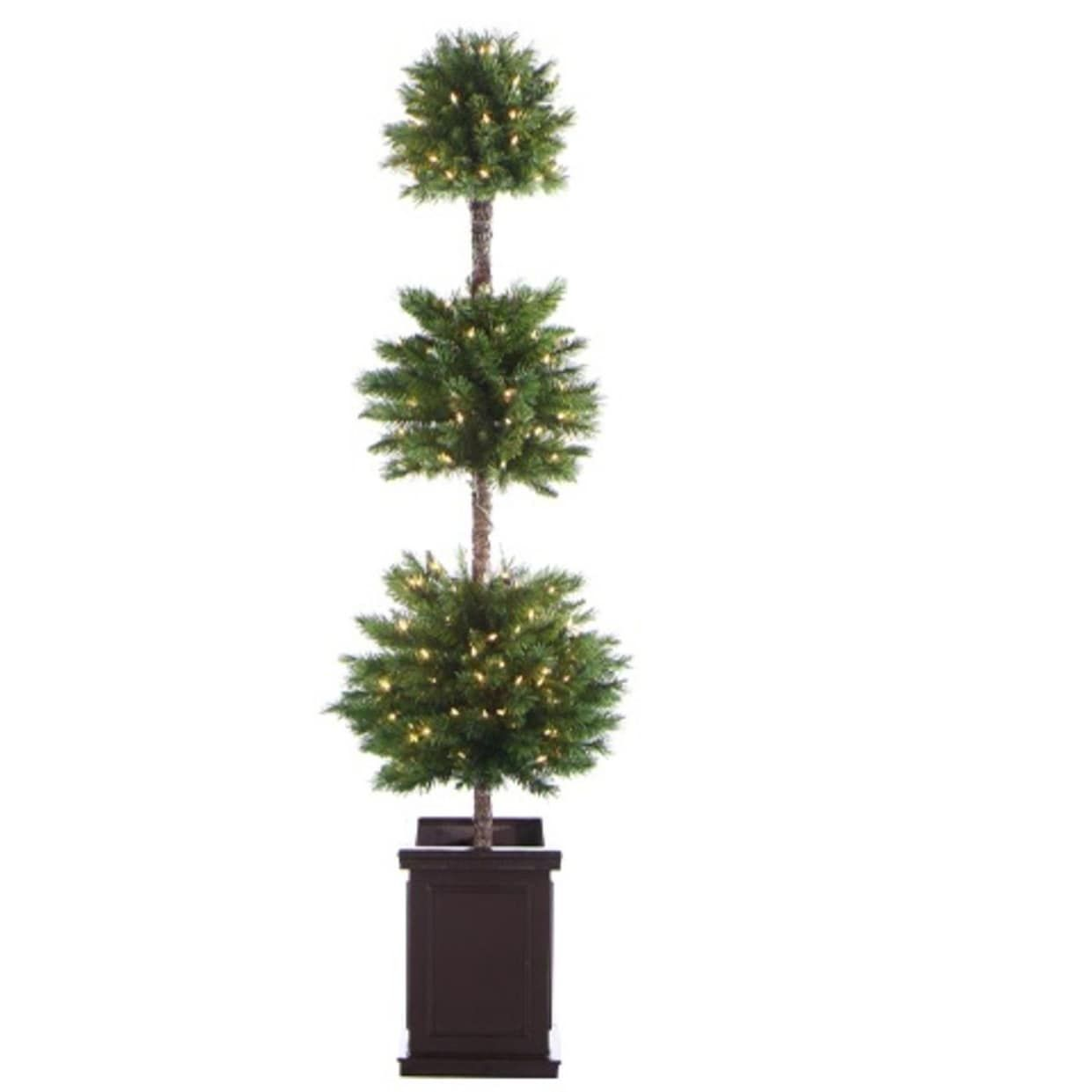 Allstate 6\' Pre-Lit Potted Triple Ball Artificial Christmas Topiary ...