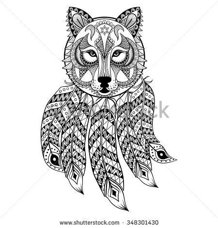 Vector ornamental Wolf with dreamcatcher, ethnic zentangled mascot ...