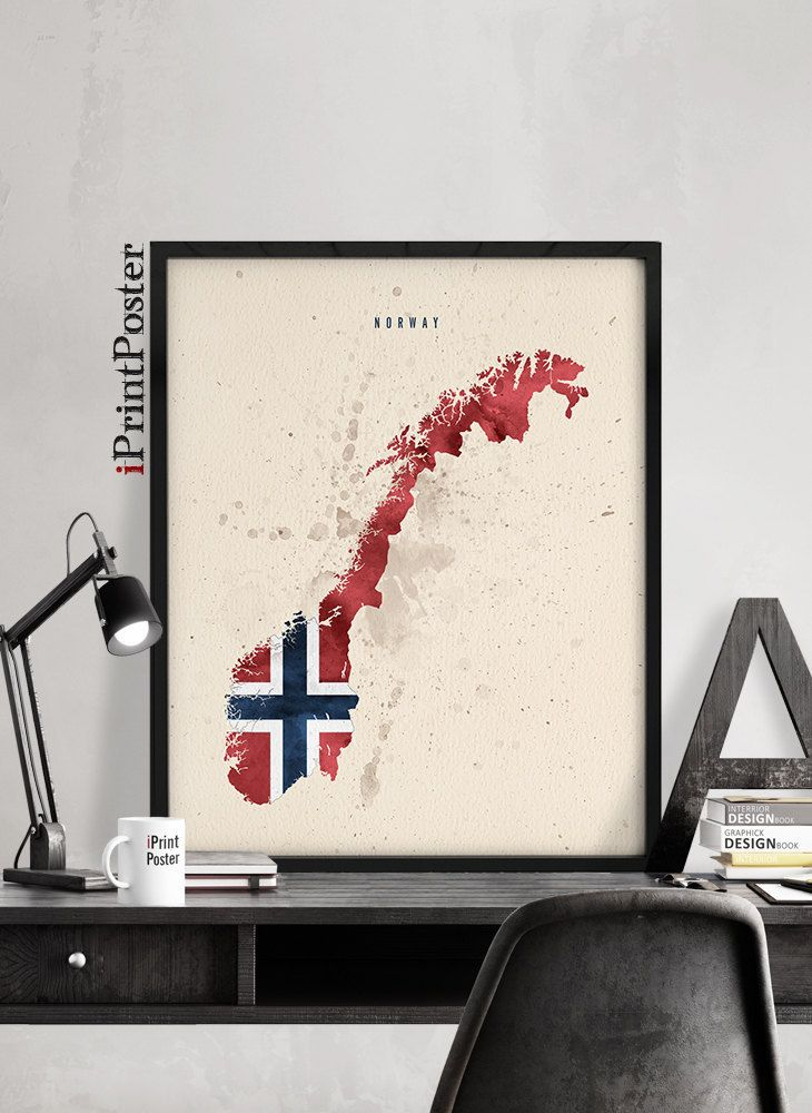 Norway Map Flag Watercolour Print Norway Flag Map Poster Art - Norway map poster