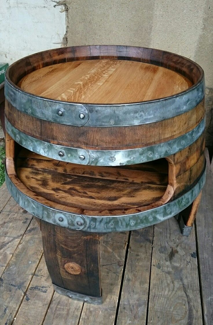 Wine barrel project table riciclo riciclo for Botti in legno per arredamento